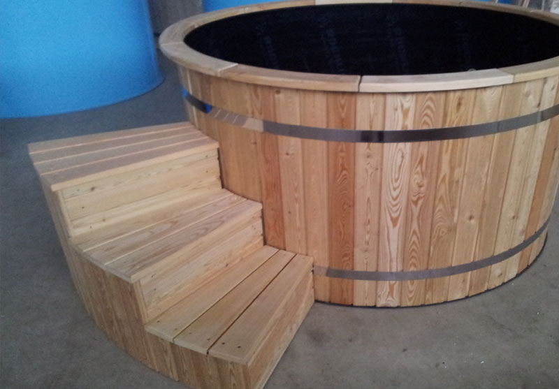 Beau Deluxe Gl Fiber Tub With Integrated Wooden Fired Heater