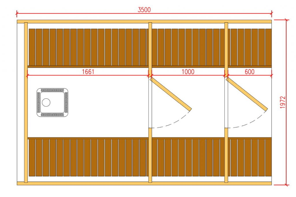 3,5m barrel sauna plan